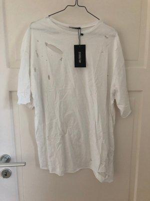 Zara T-Shirt Tshirt Weiß Shirt Top Oberteil Ripped Löcher Gerissen Used Look NEU