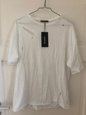Zara T-Shirt Tshirt Weiß Shirt Top Oberteil Ripped Löcher Gerissen Used Look NEU