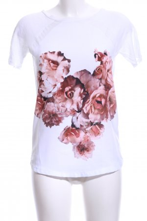 Zara T-Shirt weiß-altrosa Blumenmuster Casual-Look