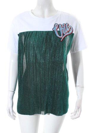 Zara T-Shirt weiß-dunkelgrün Urban-Look