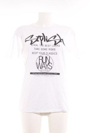 Zara T-Shirt weiß-schwarz Schriftzug gedruckt Casual-Look