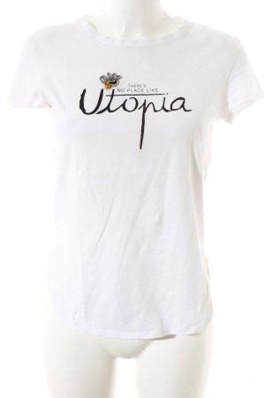 Zara T-shirt blanc cassé-noir lettrage imprimé style décontracté