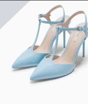 zara T-strap pointy pigalle high heels babyblau schuhe