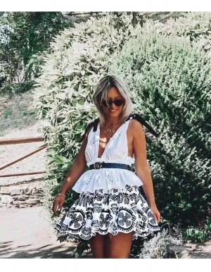 Zara High Waist Skirt white-black