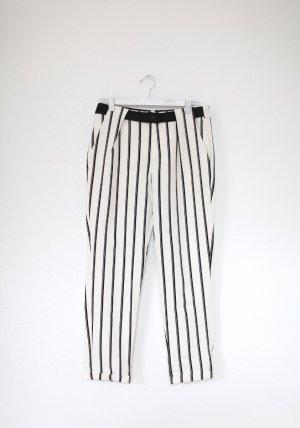Zara Tailored Pants Chino Anzugshose Gr. M Weiß Schwarz Gestreift Vintage Look