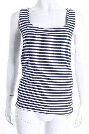 Zara Tanktop weiß-blau Streifenmuster Marine-Look