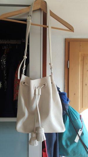 Zara Tasche Beuteltasche weiß creme beige - NEU - ungetragen