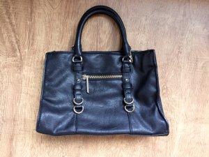 Zara Tasche Handtasche Schwarz Golden Leder Blogger