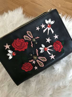 Zara Tasche schwarz blumenstickerei