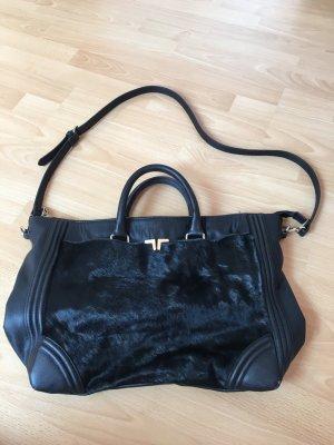 Zara Tasche schwarz Leder Kunstleder Echtfell Gold DIN A4 Henkeltasche