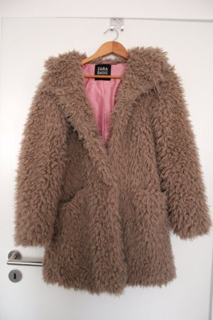 Zara Fake Fur Coat beige