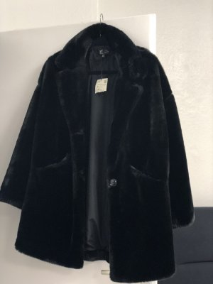 Zara Trafaluc Fake Fur Jacket black