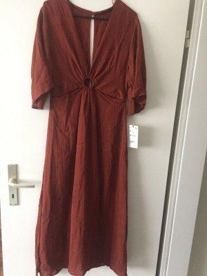 Zara Vestido largo marrón-rojo amarronado tejido mezclado