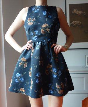 Zara tolles Bandage Kleid blau Blumen mit ausgestelltem Rock Gr. M Wie neu!