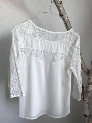 Zara Top de encaje blanco-crema
