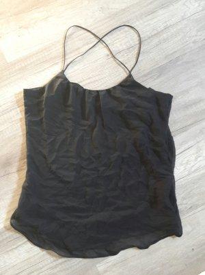 Zara Top Chiffontop Chiffon Spaghettiträger transparent M