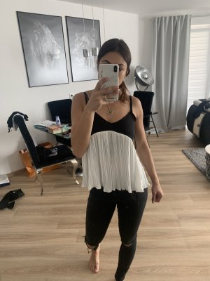 Zara Basic Blouse topje donkerblauw-wit
