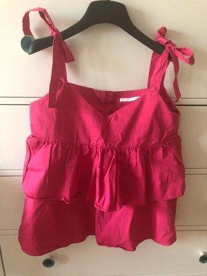 Zara Flounce Top neon red-magenta
