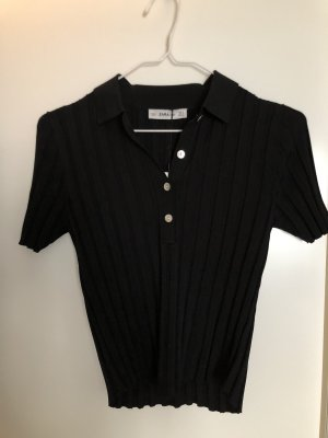 Zara Knit Polo Top black viscose