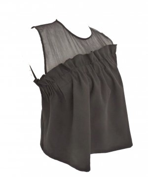 ZARA Top Schwarz Volants Locker Oversize Oberteil
