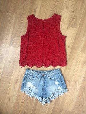 Zara Top Shirt Bluse Hemd Croptop Camisole Spitze Lace Blumen Rot  XS 34