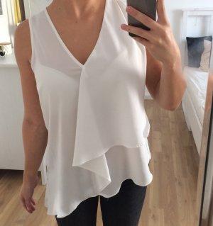 Zara Top Shirt Bluse Hemd Weiß Beige Creme Nude Volants V Ausschnitt XS 34