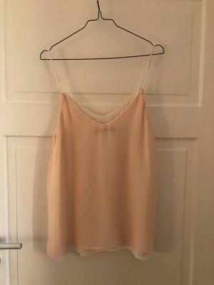 Zara Top Short Träger Spagettiträger Oberteil Peach Nude Apricot Weiß Creme