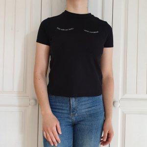 Zara Top T-Shirt M TShirt shirt weiß Schwarz oberteil Bluse Hemd tanktop croptop pulli pullover