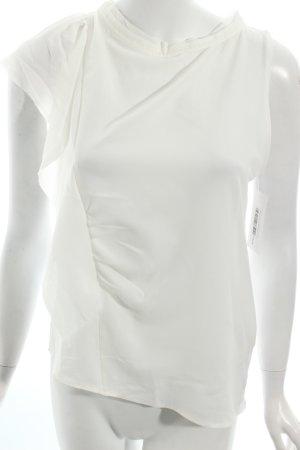 Zara Top weiß Materialmix-Look
