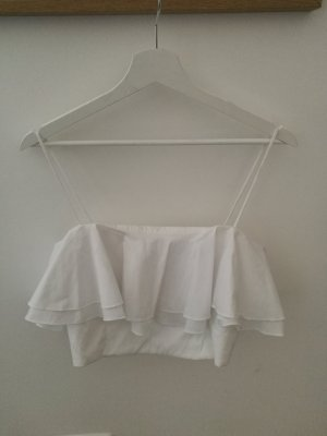 zara top weiß volants M