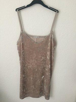 Zara Trägerkleid aus Samt Rosa Beige