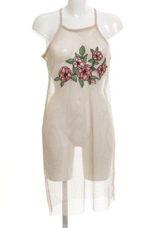 Zara Vestido tipo overol nude estampado floral estilo extravagante