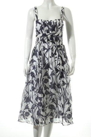Zara Trägerkleid weiß-dunkelblau Blumenmuster Elegant