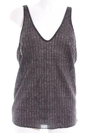 Zara Trägertop schwarz-silberfarben Streifenmuster
