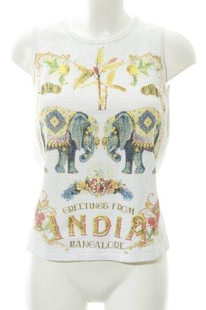 Zara Top de tirantes blanco estampado temático look casual