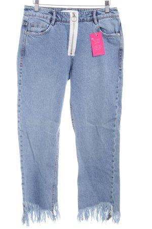Zara Trafaluc 7/8 Jeans kornblumenblau Washed-Optik
