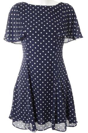 Zara Trafaluc A-Linien Kleid weiß-dunkelblau Punktemuster Romantik-Look
