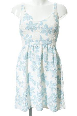 Zara Trafaluc A-Linien Kleid wollweiß-hellblau Blumenmuster Elegant