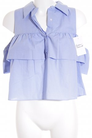 Zara Trafaluc ärmellose Bluse hellblau Street-Fashion-Look