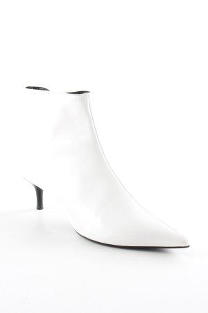 Zara Trafaluc Ankle Boots weiß-schwarz Business-Look
