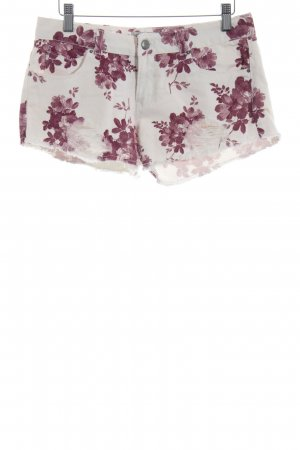 Zara Trafaluc Pantalón abombado blanco puro-rojo oscuro estampado floral