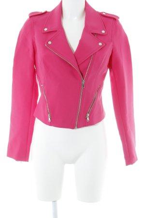 Zara Trafaluc Chaqueta de motociclista rosa look casual