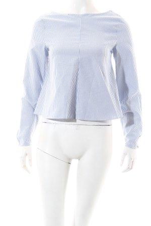 Zara Trafaluc Bluse weiß-himmelblau Streifenmuster Casual-Look