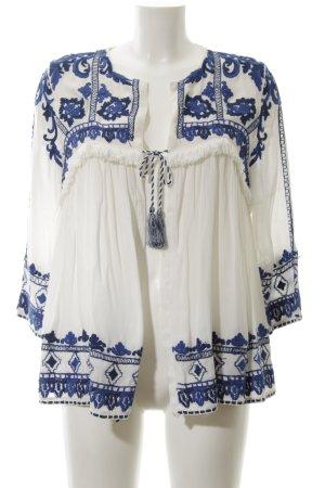 Zara Trafaluc Chaqueta tipo blusa blanco puro-azul estampado floral elegante