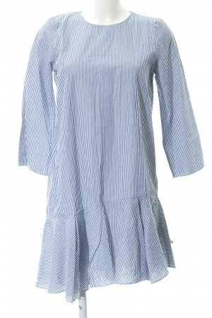 Zara Trafaluc Blusenkleid weiß-stahlblau Streifenmuster Beach-Look