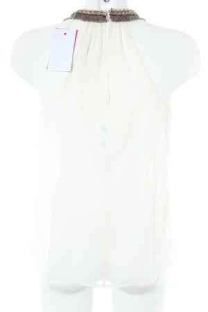 Zara Trafaluc Blusentop weiß-altrosa schlichter Stil