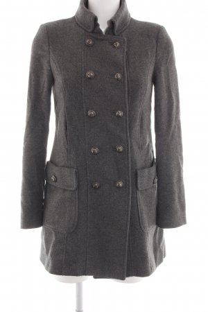 Zara Trafaluc Heavy Pea Coat light grey flecked business style
