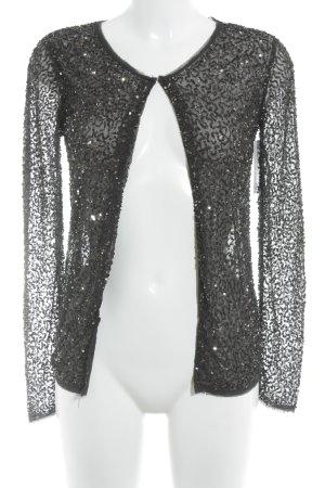 Zara Trafaluc Cardigan schwarz-silberfarben Glitzer-Optik