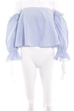 Zara Trafaluc Carmen-Bluse blau-weiß Streifenmuster Casual-Look