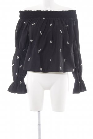 Zara Trafaluc Carmen Blouse black-white flower pattern casual look